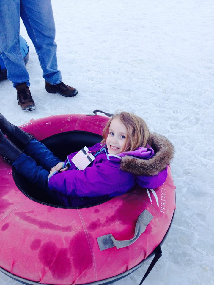 Juliana in her tube.